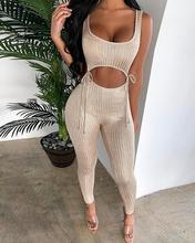 2020 Women Low Cut Ribbed Crop Top & Pants Solid Champagne Skinny Sleeveless Crop Top Sexy Clubwear Fashion Elegant Summer cut out crop ribbed tshirt