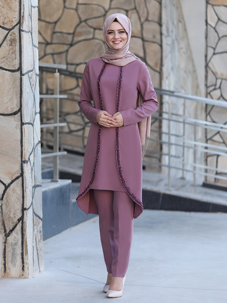 Women Two Piece Suit Tunic Trousers Muslim Islamic Combination New Season Crepe Fabric Made in Turkey Guipure Embroidered Dubai