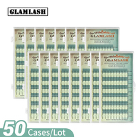 GLAMLASH 50 Cases Russian Volume Mink Eyelash Extension Premade Fan Synthetic Hair False Lashes Extension Premium Cilios