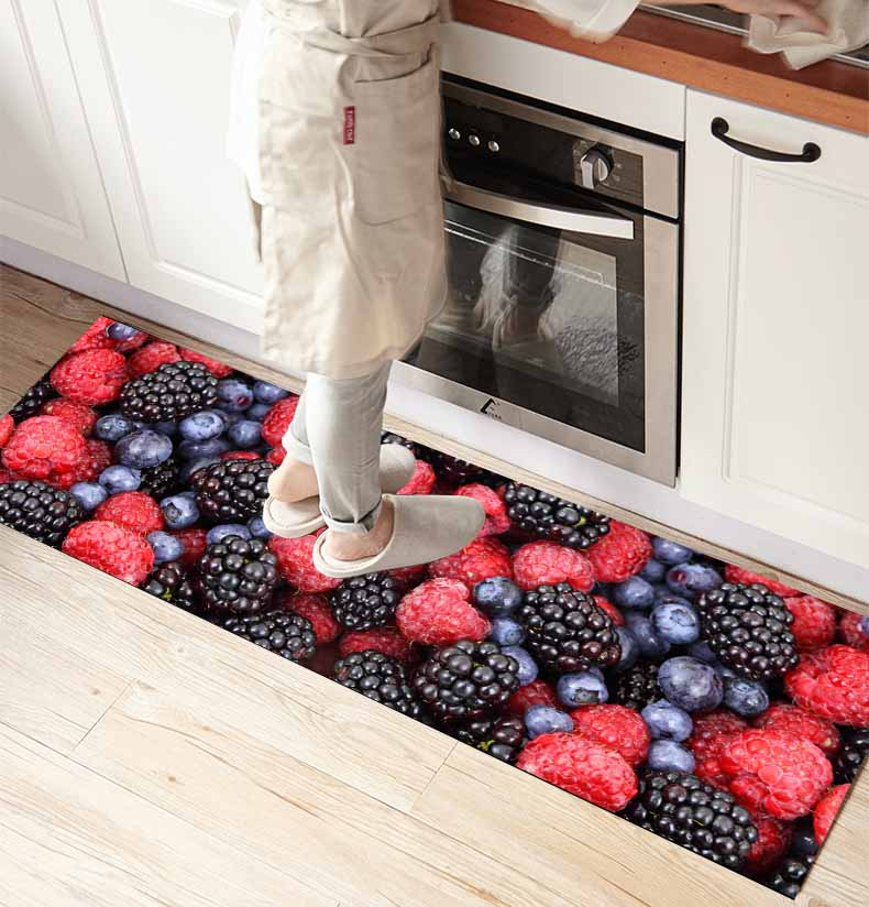 Else Black Red Blackberry Fruits 3d Print Non Slip Microfiber Front Of Kitchen Counter Modern Decorative Washable Area Rug Mat