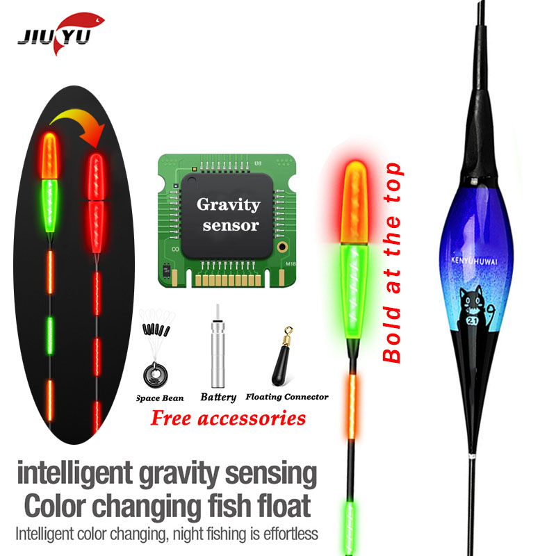 Smart Fishing Led Light Float 1Pcs Equipment Including Battery CR425 Night fishing Tie Gravity sensing chip stopper accessories