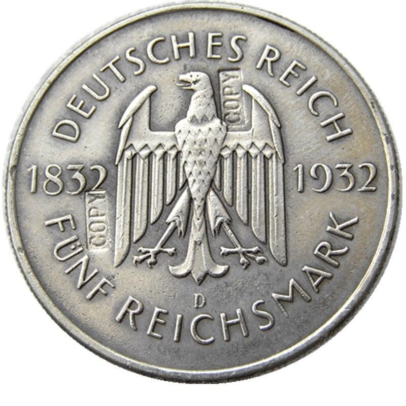 JERMAN Satu set 1932-A-D-E-F-G-J (6pcs) 5 Reichsmark Perak Disepuh - Dekorasi rumah - Foto 3