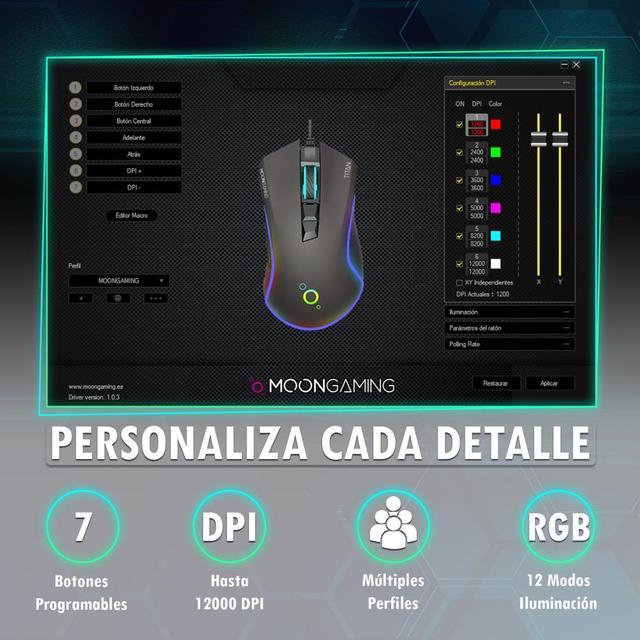 Ratón Gaming Profesional - MoonGaming TITAN / Pmw 3360 / 12000 Dpi / Full RGB 6