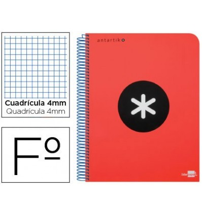 SPIRAL NOTEBOOK LEADERPAPER A4 ANTARTIK HARDCOVER 80H 100 GR TABLE 5MM RED COLOR