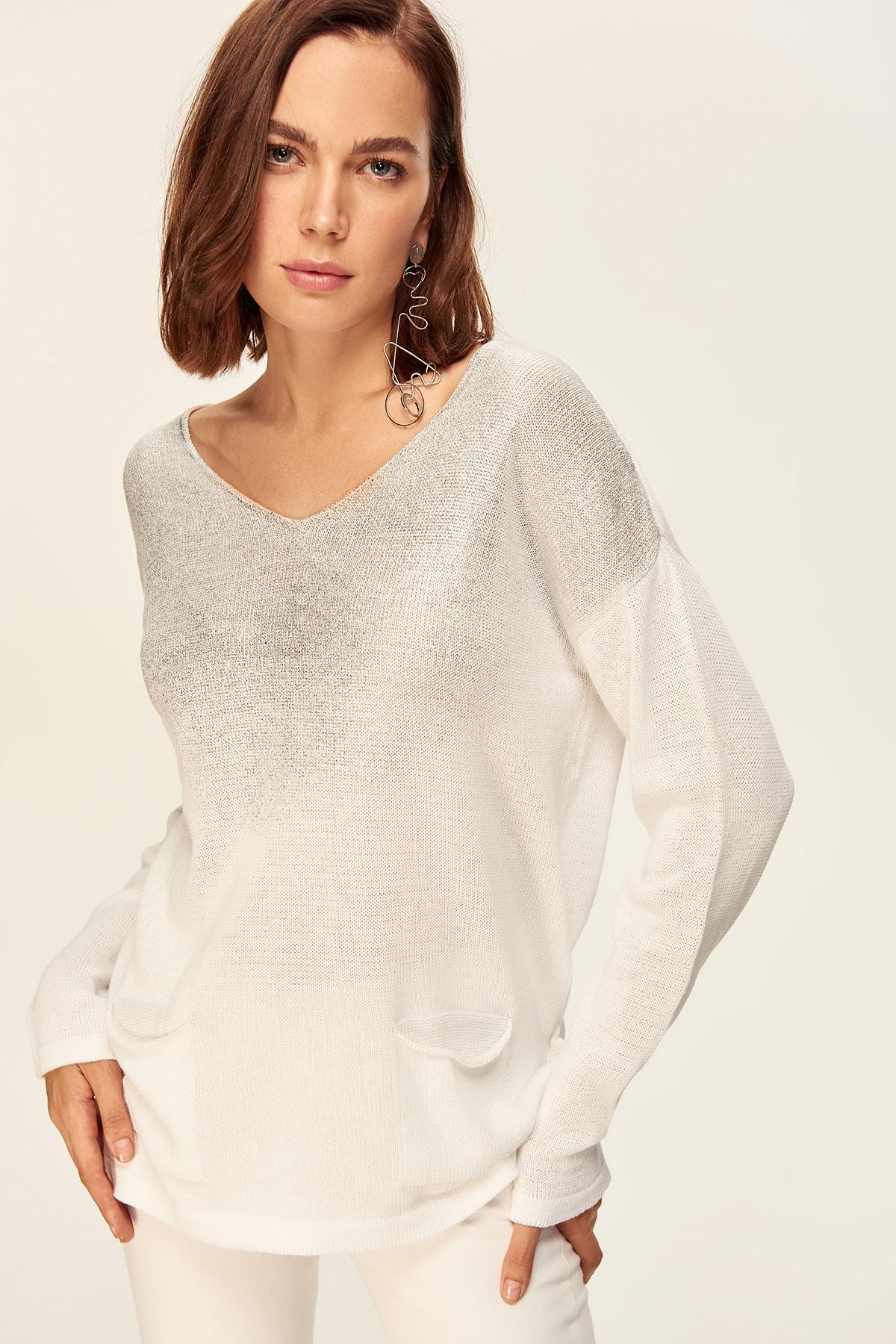 Trendyol женский белый свитер с рисунком «листья» свитер TWOAW20DU0010| |   | АлиЭкспресс