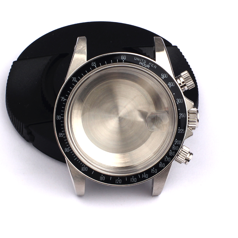 Watch Case Kit For Valjoux 7750 Movement Can DIY TMC 9420 Lug 20mm With Black Bezel 316 Stainless Steel