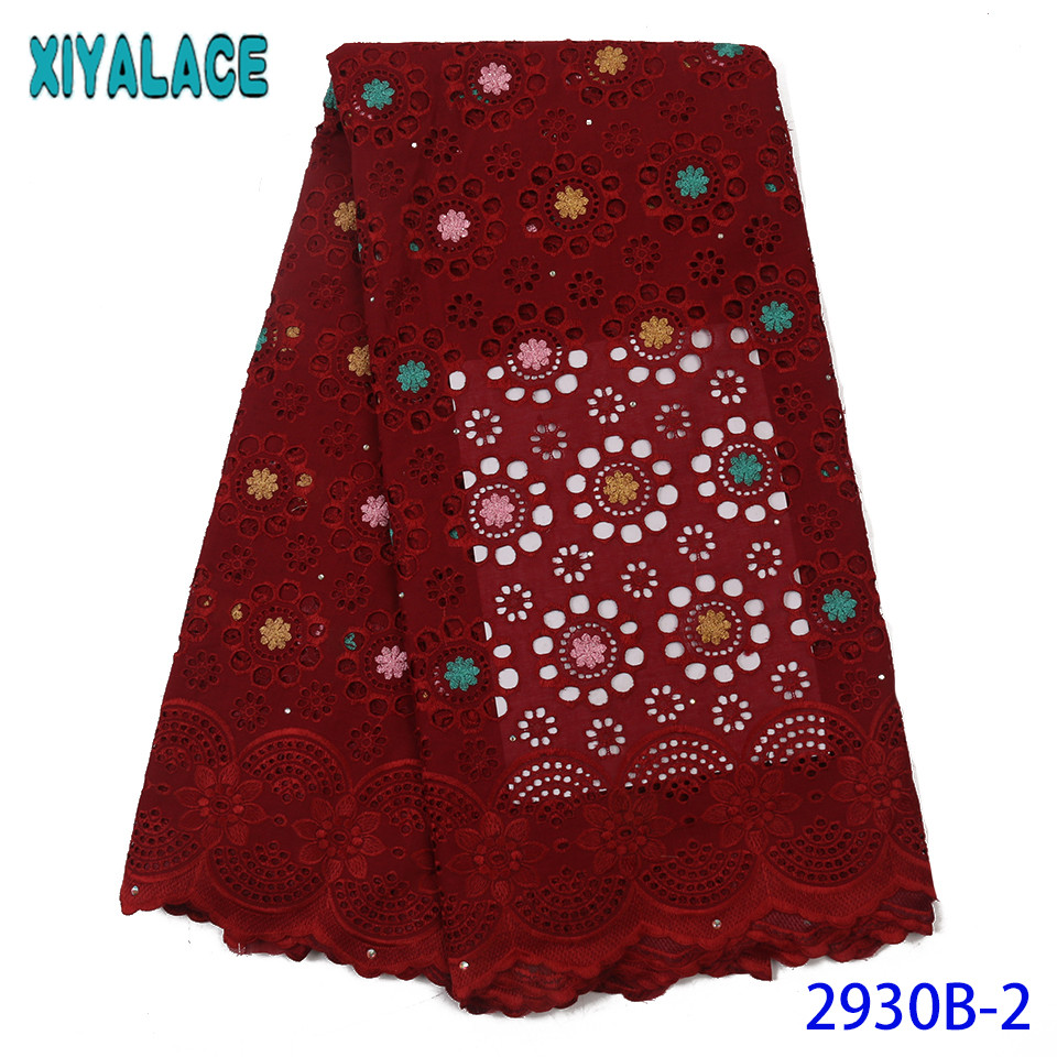 Red French Lace High Quality African Lace Material Swiss Voile Nigerian Voile Lace Fabric With Rhinestones KS2930B-2