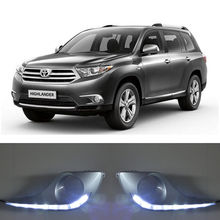 цена на ECAHAYAKU Waterproof Turn Signal Style Relay LED DRL Daytime Running Lights With Fog Lamp Hole For Toyota Highlander 2012 2013