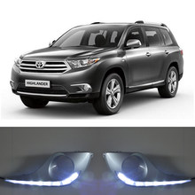 ECAHAYAKU Waterproof Turn Signal Style Relay LED DRL Daytime Running Lights With Fog Lamp Hole For Toyota Highlander 2012 2013(China)