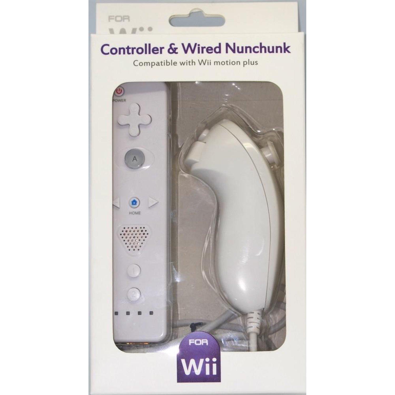 Пульт дистанционного управления для Wii с встроенным процессором Wii motionplus + Nunchuck, совместимый с Wii WHITE