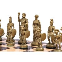 Spartan set. Roman style chess pieces, made of plastic plumbs. Birch wood board