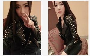Image 3 - Casaco Feminino Kim Fashion Leather Jacket Spikes Stars Slim Bi metal Silver Rivet metallic jacket Pu Leather Coats Women