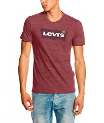 T-shirt Brand LEVIS HOUSEMARK GRAPHIC TEE basic T-shirts for men short sleeve brand maroon clothing male