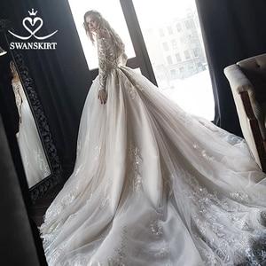 Image 2 - Vestido de novia de manga larga, encantador, ilusión de apliques, corte de encaje, tren, SWANSKIRT, HZ01