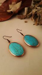 Dr Natuursteen Vrouwen Turquoise Vintage Brons Oorbellen Z121AR364