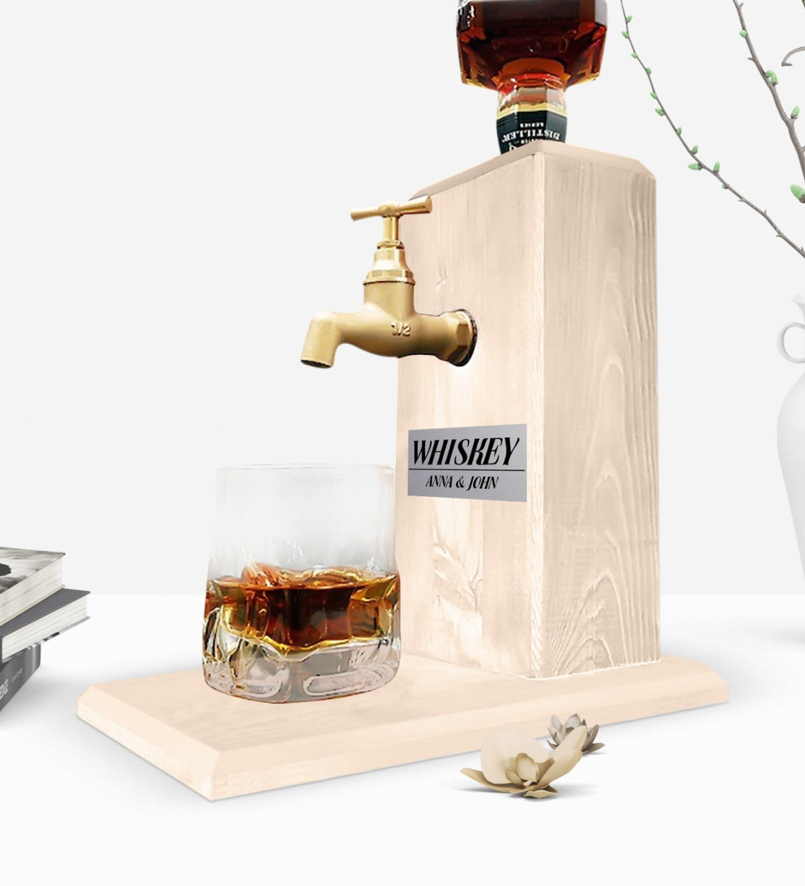 Custom Wooden Natural Whiskey Stand With Tap - Wood