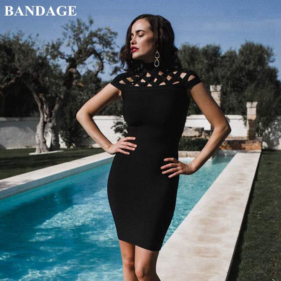 BANDAGE automne évider noir violet robe femmes élégant Bandage robe Mini Cocktail fête tenue de club moulante Vestidos