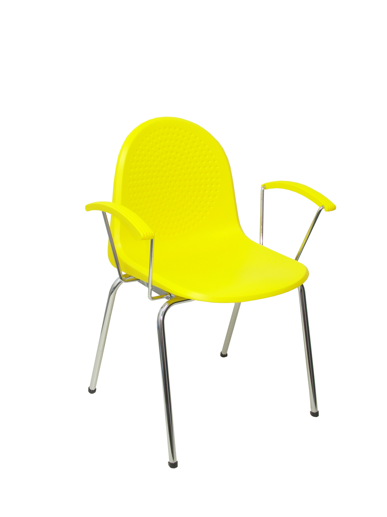 Pack 4 Chairs Confident Ergonomic With Fixed Arms Chrome And Structure Chrome Seat And Backrest Plastic