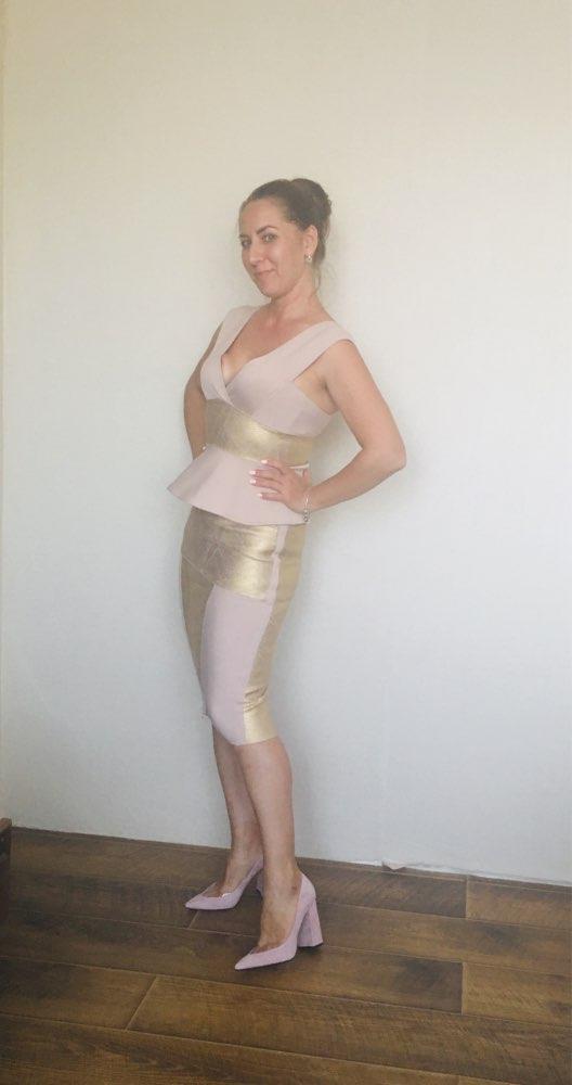 Ruffles Celebrity Party Dress Summer Women Bodycon Set Sleeveless V Neck Front Zipper Bandage Dress Women Vestido photo review