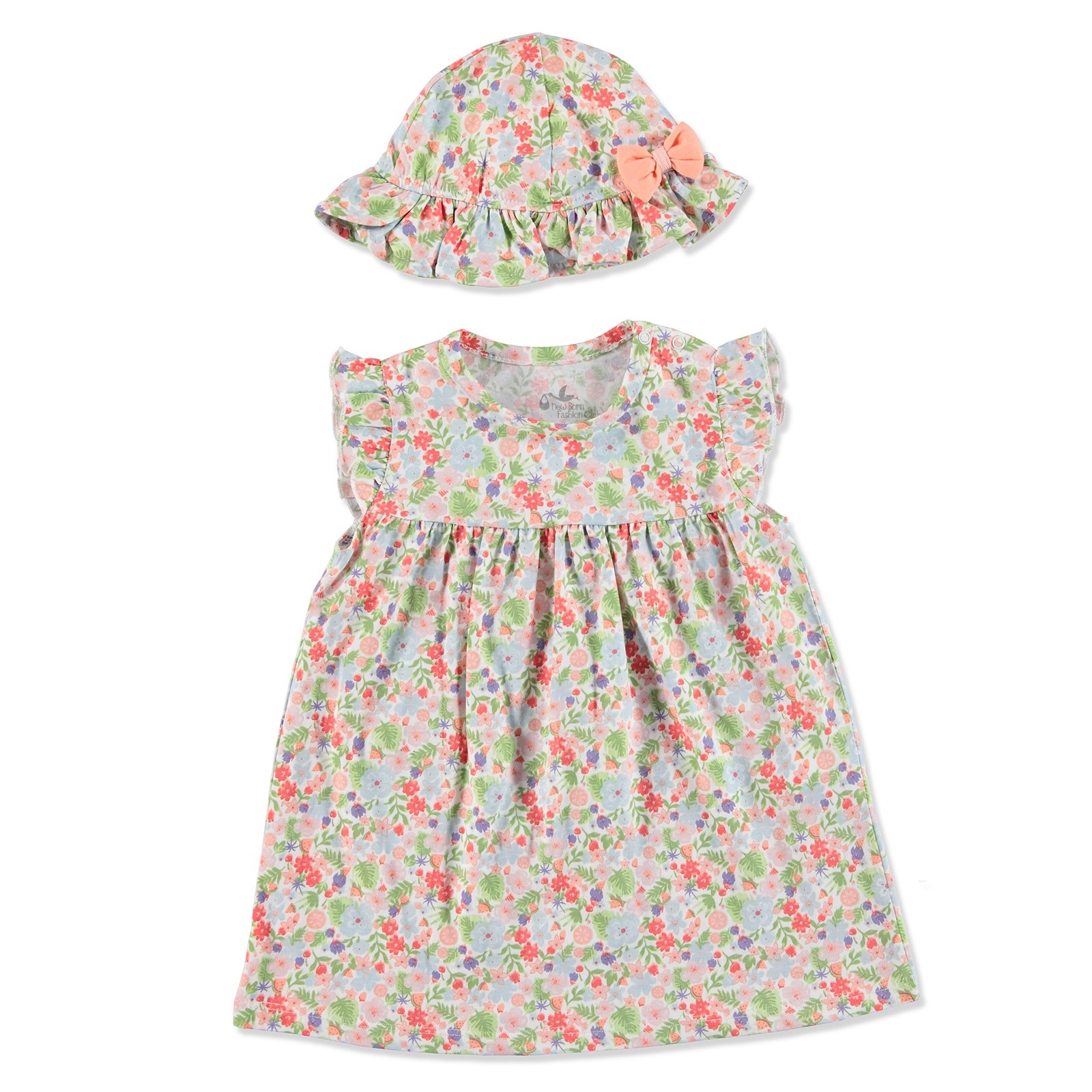 Ebebek Newborn Fashion Club Tropical Summer Baby Girl Dress Hat