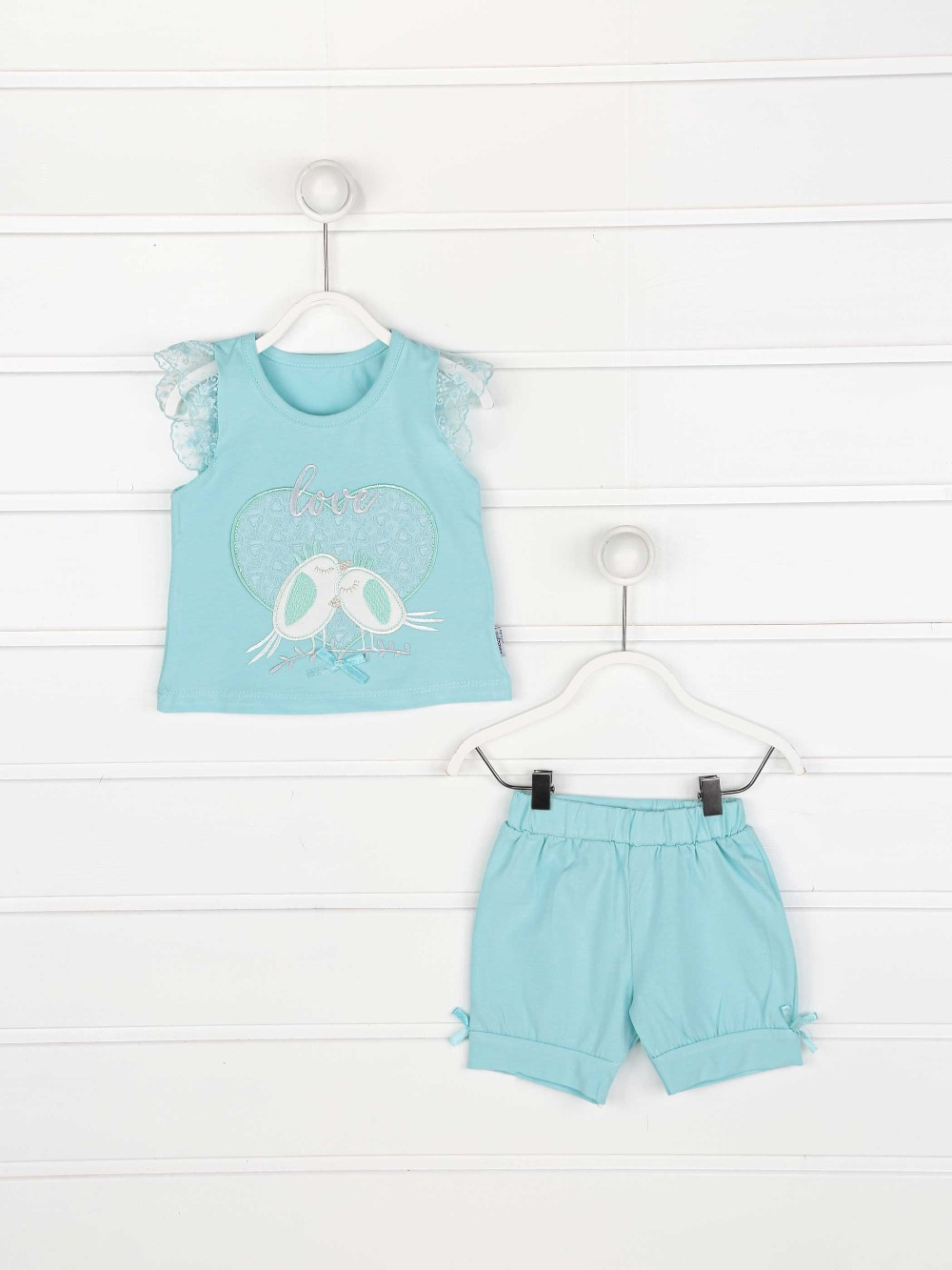 082-2220-017 Yeşil Kız Bebek Şortlu Takım (1)