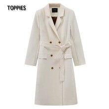 Toppies – veste de costume Double boutonnage pour femmes, Blazer Long surdimensionné, manteau Long, mode Chic, vêtements d'extérieur, printemps 2021