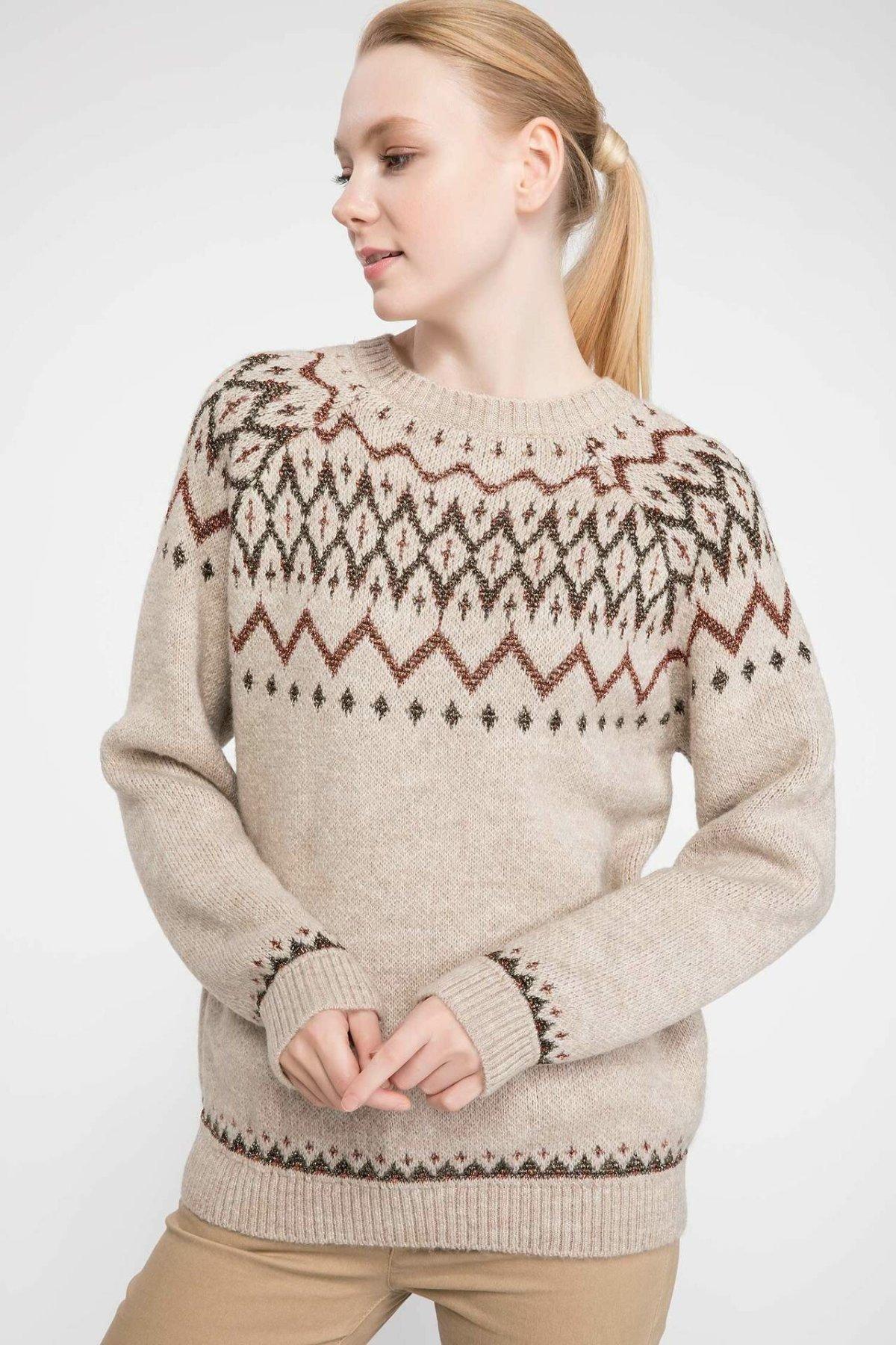 DeFacto Women Crewneck Geometric Pattern Knitted Casual Simple Pullovers Sweatshirt Autumn Fashion New - J0537AZ18WN