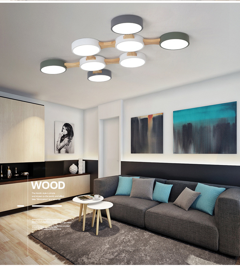 LED ceiling lamp 220V round metal lampshade Nordic modern minimalist pendant lamp for surface-mounted living room bedroom hotel