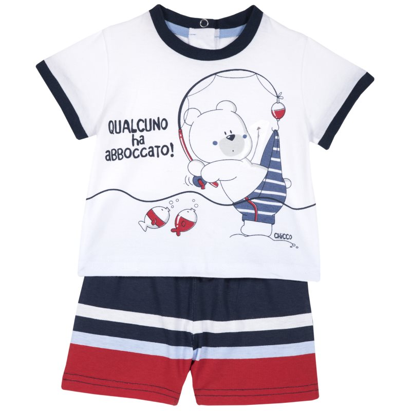 Фото - Set T shirt and shorts Chicco, size 080, print bear (white-blue-red) shoes velcro genuine leather chicco size 200 color blue and red