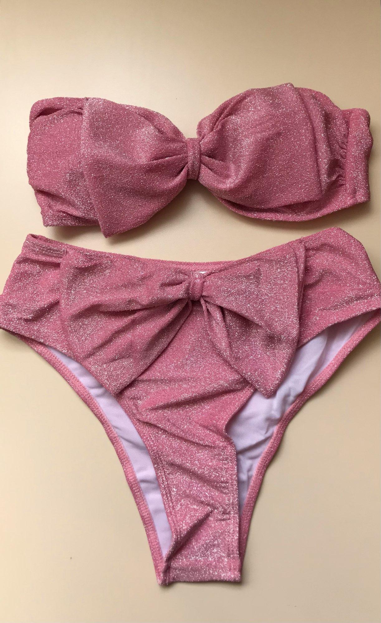 INGAGA High Waist Bikinis 2021 Swimsuits Bandeau Swimwear Women Shiny Bow Biquini Solid Strapless Bathers Bathing Suit Women New|Bikini Set|   - AliExpress
