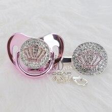 MIYOCAR Oro bella ORO bling rosa corona ciuccio e ciuccio clip di set BPA libero dummy bling design unico APCB 1