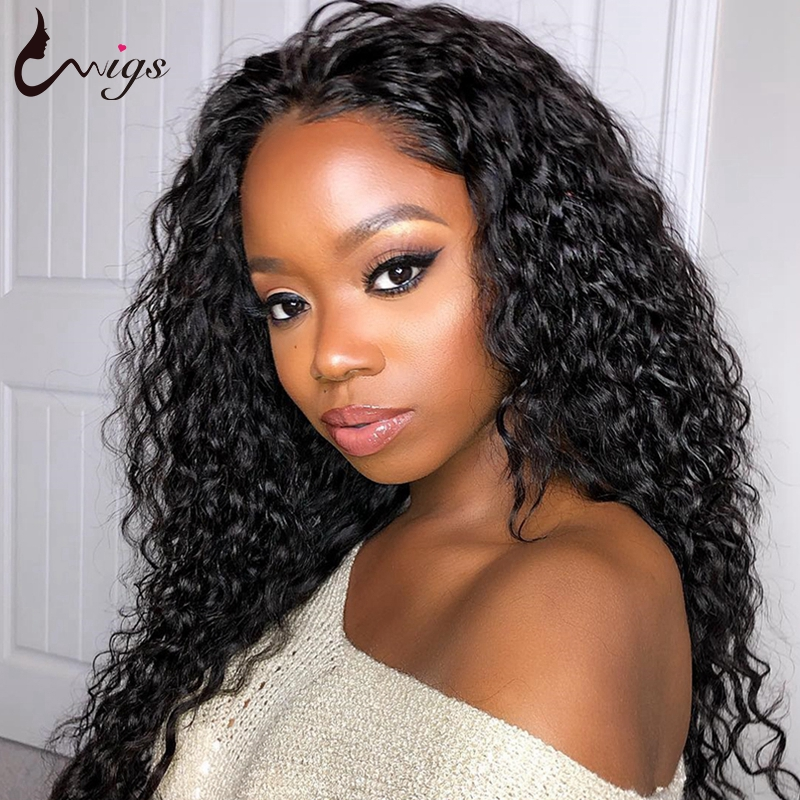 Uwigs Pre Plucked Jerry Curly Lace Front Wig With Baby Hair 150% Density Natural Black Malaysian Non Remy Human Hair Wigs