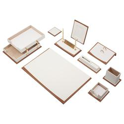 Star Luxury Leather & Wood Desk Set 11 Pieces With Double Tray Desk Organizer, Office Accessories, Desk Accessories