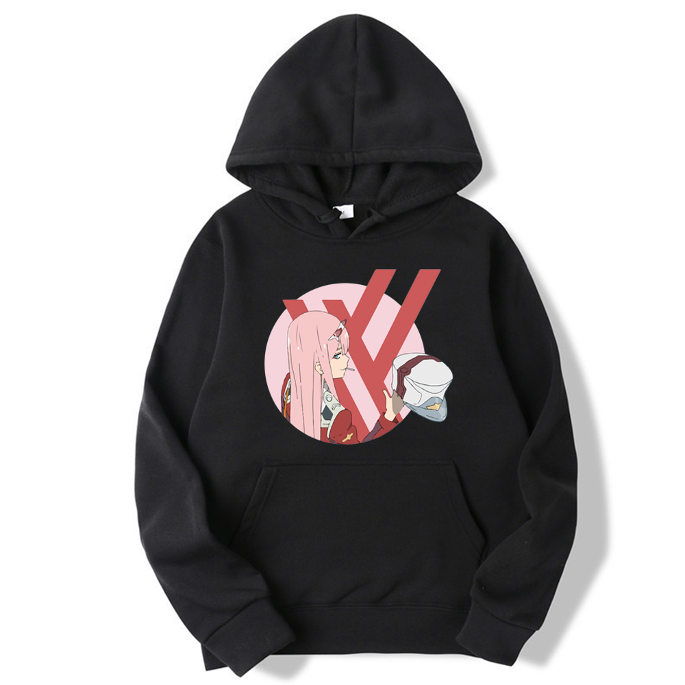 New Fashion Anime Darling In The Franxx Zero Two Print Hoodie Long Sleeve Unisex Hipster Cosplay Tops