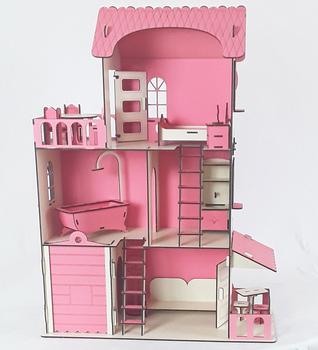 Drewniany dom zabaw dla dzieci i Hobby-31 (umeblowany) tanie i dobre opinie NONE