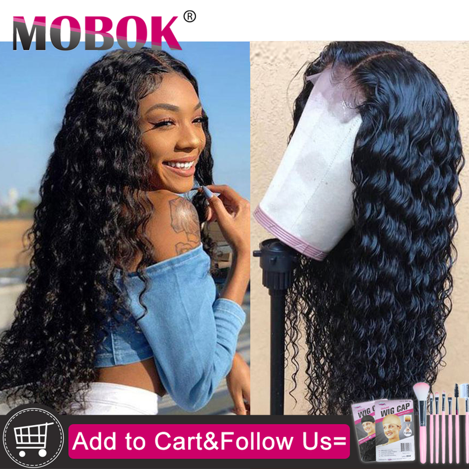 13x4 Curly Lace Front Human Hair Wigs Pre Plucked For Women Brazilian Deep Wave Lace Frontal Wig With Baby Hair 130 180% Remy