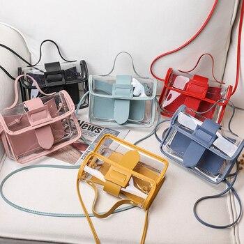 Женская прозрачная сумка-Кроссбоди, Корейская однотонная маленькая сумка карамельного цвета с большой пряжкой, 2020