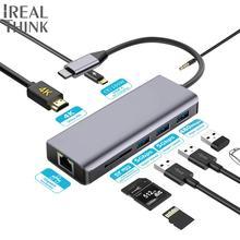 IREALTHINK USB C Type 3.1 adapter Pro-accessories HDMI Adapter Macbook Dock Splitter HUB 1000Mbps Network 3.5mm jack hub