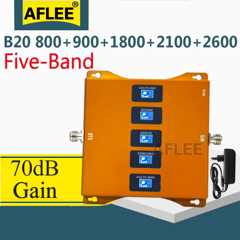 1PCS B20 800 900 1800 2100 2600mhz Five-Band Cellular Amplifier 4G Mobile Signal Booster Repeater GSM 2G 3G 4G DCS WCDMA LTE
