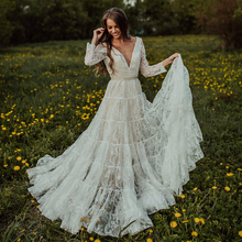 Vestido de noiva estilo boho com mangas compridas, costas abertas, decote em v, fita de tule, jardim, praia, nude, 2021, vestidos de noiva 10152