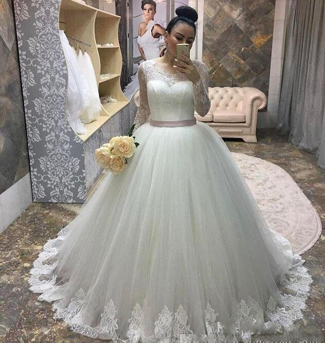 Vestido De Novias Elegant Ball Gown Long Sleeve Cheap Princess Wedding Dresses 2020 Lace Applique Sashes Bridal Gowns