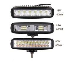 цена на 6 inch 12V LED Work Light Bar Spot Light Flood Lamp Driving Fog Off Road LED Work Car Light for Ford Toyota SUV 4WD LED Beams