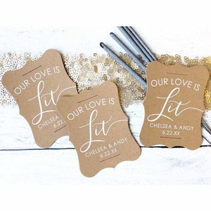 Set of 24-Our Love is Lit Wedding Sparkler Tags Custom Sparkler Tags(China)