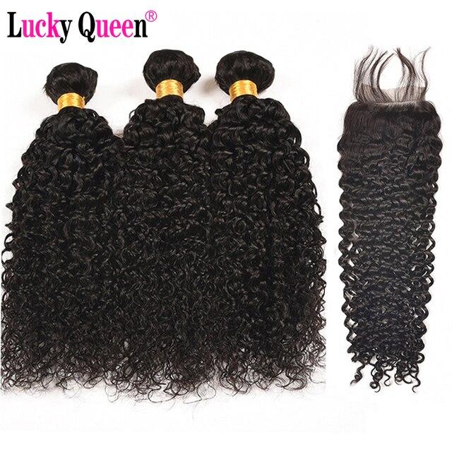 Brasiliano Riccio crespo 3 Bundle Deal Con Chiusura Dei Capelli Umani Bundle Con Chiusura Non Capelli di Remy Del Tessuto Fortunato Queen Hair