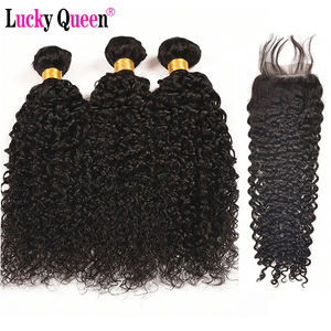 Image 1 - Brazilian Kinky Curly 3 Bundles Deal With Closure Human Hair Bundles With Closure Non Remy Hair Weave Lucky Queen Hair