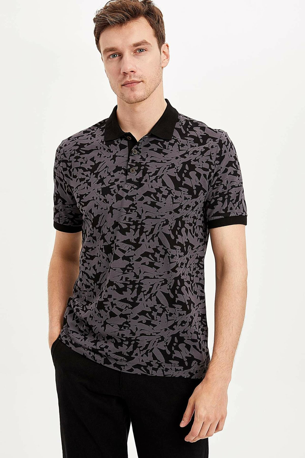 DeFacto Man Fashion Polo Shirt For Men's Casual Print Pattern Loose Short Sleeves Male Comfort Tops Summer New - K4619AZ19SM