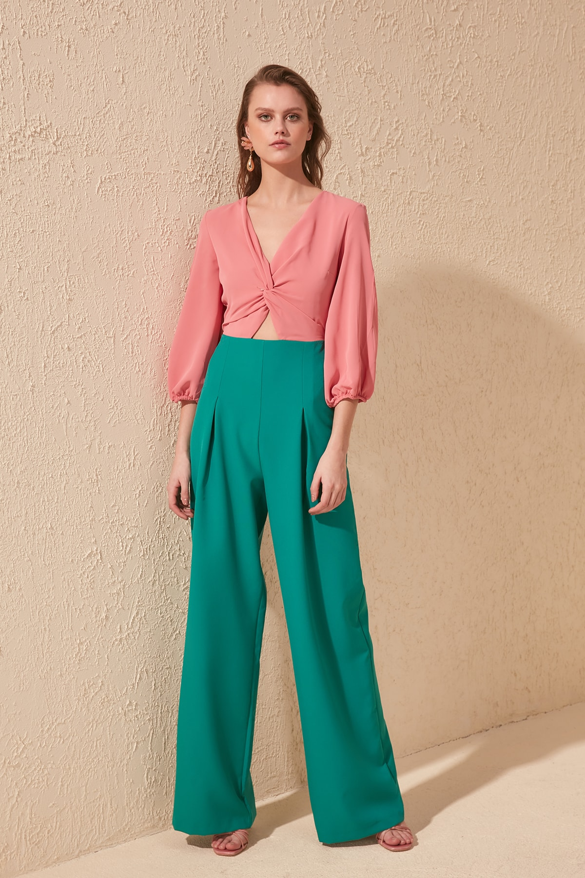 Trendyol With Color Block Jumpsuit TWOSS20TU0056