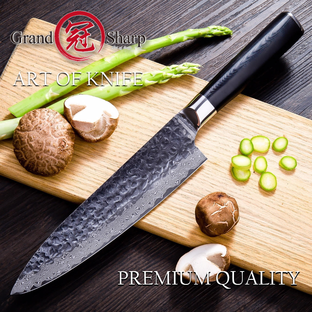 Chef Knife Kitchen-Knives Japanese Damascus AUS10 Professional Black 67-Layers 8inch