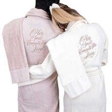 Couple's Cotton Robe Spa Bathrobe Set - Unisex Hotel Robe with Elegant Embroidery Different  Light Colours