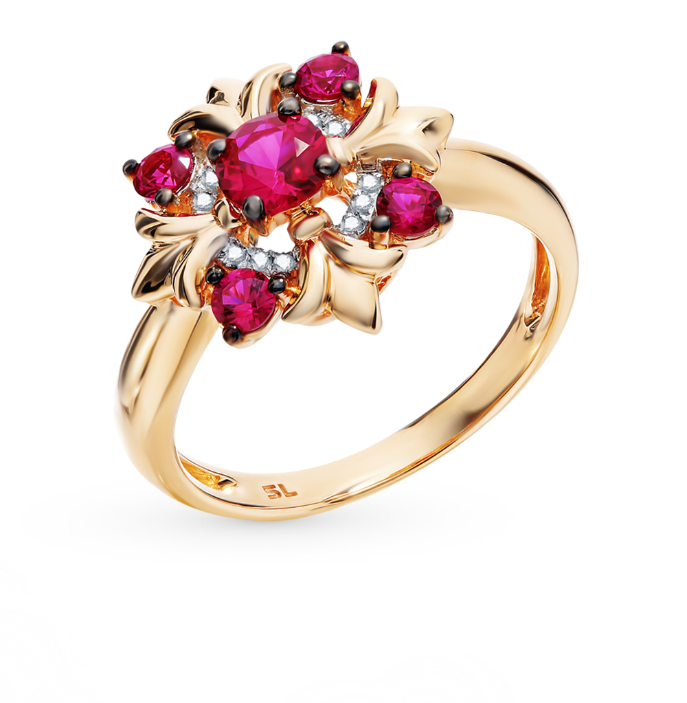 Gold Ring With Rubies And Diamonds SUNLIGHT Test 585
